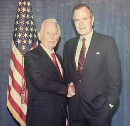 Mutual appreciation:  Branson McRae meets President George H.W. Bush, who led the nation through the Persian Gulf War.